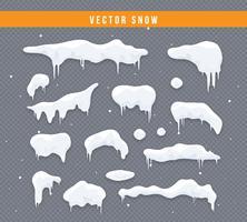 Sneeuwkappen, sneeuwballen en sneeuwbanken. Snow cap vector-collectie. Winter decoratie element. Sneeuwelementen op de winterachtergrond. Cartoon sjabloon. Sneeuwval en sneeuwvlokken in beweging. Illustratie. vector