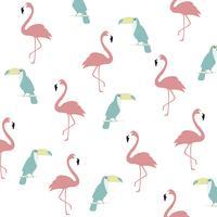 Trendy pastel flamingo en toucan naadloze patroon achtergrond