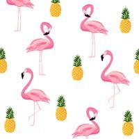 Ananas en flamingo geïsoleerde naadloze patroonachtergrond