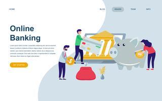 Moderne platte webpagina ontwerpsjabloon van online bankieren