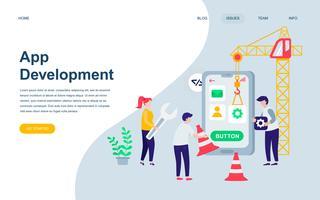 Moderne platte webpagina ontwerpsjabloon van app-ontwikkeling vector