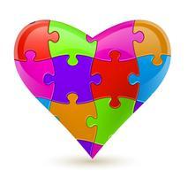 Puzzel hart. Vector illustratie