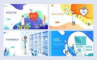 Set van bestemmingspagina sjabloon voor geneeskunde, gezondheidszorg, apotheek vector
