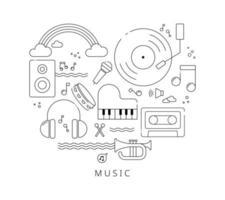 een compositie waarin muziekinstrumenten zijn verzameld in de vorm van een hart. zwarte lijn pictogram ontwerp op witte achtergrond. platte ontwerpstijl minimale vectorillustratie. vector