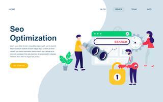Moderne platte webpagina ontwerpsjabloon van Seo-analyse vector
