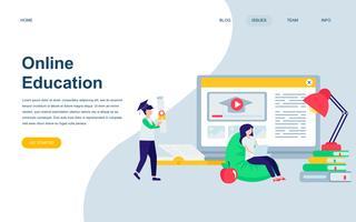 Moderne platte webpagina ontwerpsjabloon van online onderwijs vector