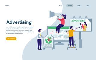 Moderne platte webpagina ontwerpsjabloon van reclame en promotie