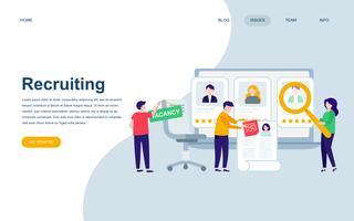 Moderne platte webpagina ontwerpsjabloon van aanwerving vector