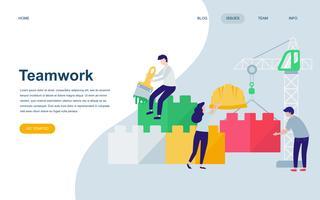 Moderne platte webpagina ontwerpsjabloon van Teamwork