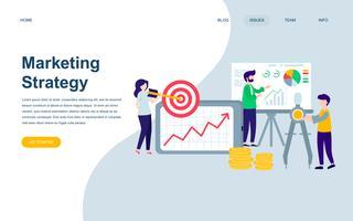 Moderne platte webpagina ontwerpsjabloon van marketingstrategie