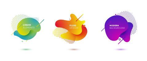 Gradiënt abstracte banners met vloeiende vloeibare vormen