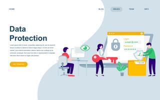 Moderne platte webpagina ontwerpsjabloon van gegevensbescherming