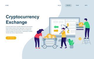 Moderne platte webpagina ontwerpsjabloon van Cryptocurrency Exchange