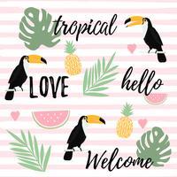 Ananas, watermeloen en toekan met strepen naadloze patroon achtergrond