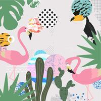 Tropische jungle verlaat achtergrond met flamingo's en toucan