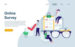 Moderne platte webpagina ontwerpsjabloon van Online Survey vector