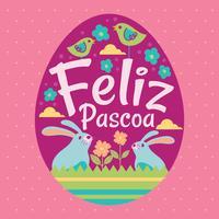 Gelukkige Pasen of Feliz Pascoa Typografische achtergrond met konijn en bloemen vector