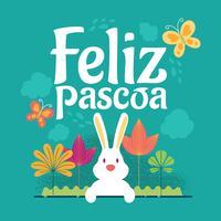 Gelukkige Pasen of Feliz Pascoa typografische achtergrond met konijn en bloemen