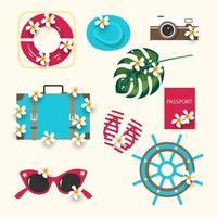 zomer pictogrammen instellen met exotische palmbladeren camera, hoed, reddingsboei, paspoort, koffer, slippers, bril, stuurwiel, tropische bloemen. vector zomer ontwerp