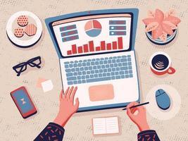 zzp'er die vanuit huis werkt. thuiswerken. data-analyse. cartoon platte vectorillustratie. werken op afstand en zelfstandigen. vrouwelijke handen typen op de laptop. vector
