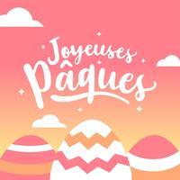 Hand letters Joyeuses Pâques typografie vector