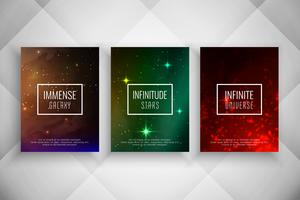 Abstracte galaxy stijl brochure sjabloon set vector