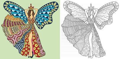 mooie fee engel kleurboekpagina voor volwassenen en kinderen antistress therapie abstracte vectorillustratie vector