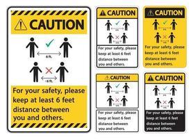 let op: houd een afstand van 1,8 meter, voor uw eigen veiligheid, houd alsjeblieft een afstand van minstens 1,8 meter tussen u en anderen. vector