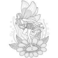 fee en bloem hand getekend voor volwassen kleurboek vector