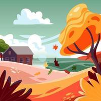herfst meer landschap vector