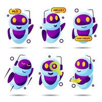 verzameling chatbot-stickers vector