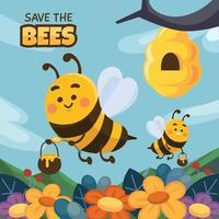 hommels brengen honing van bloem vector