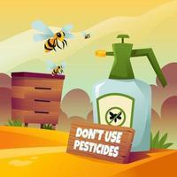 bijen beschermen tegen pesticiden vector