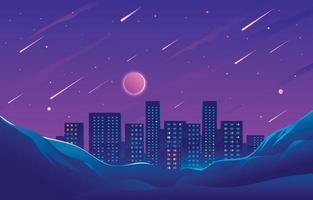 meteorenregen op de heuvels boven de stad vector