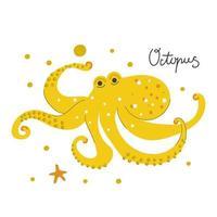 hand getekende schattige octopus. kinderkamer ontwerp. vector
