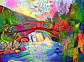 abstract impressionistisch landschapsschilderij vector