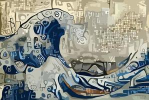 artistieke zeegolf schilderen vector