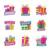 giveaway verrassing geschenkdoos stickerset vector