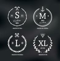 Draag maat emblemen vector