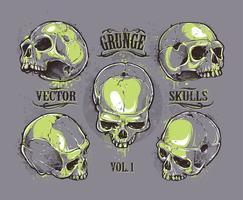 Grunge schedels vector set
