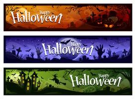 cartoon halloween banners vector