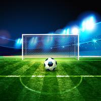 Voetbalbal op goalie doelachtergrond.