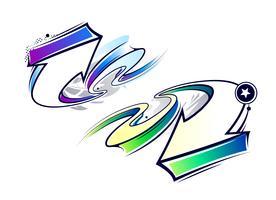 Twee krommen graffiti pijlen vector