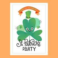 St. Patrick `s dag kaart met klaver karakter met letters vector