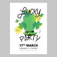 St. Patrick's Day Flyer met Ierse hoed, klaverblaadjes en belettering