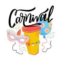 Schattig carnaval masker, Ballon, Drum en belettering vector