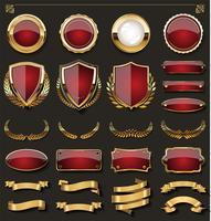gouden badges en etiketten ontwerpelementen vector