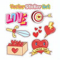 Valentijnsdag sticker patches in doodle stijl. Vector illustratie