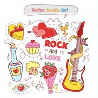 Valentijnsdag Doodle Set Vector