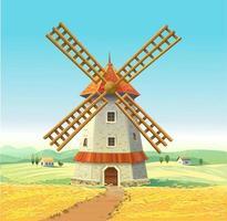 molen op een zonnig veld. houten molen. tarwe veld. vector illustratie